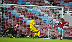 UPTON PARK, ENGLAND - Friday, September 12, 2014: Liverpool's goalkeeper Lawrence Vigouroux makes a save from West Ham United's Elliott Lee during the Under 21 FA Premier League match at Upton Park. (Pic by David Rawcliffe/Propaganda)