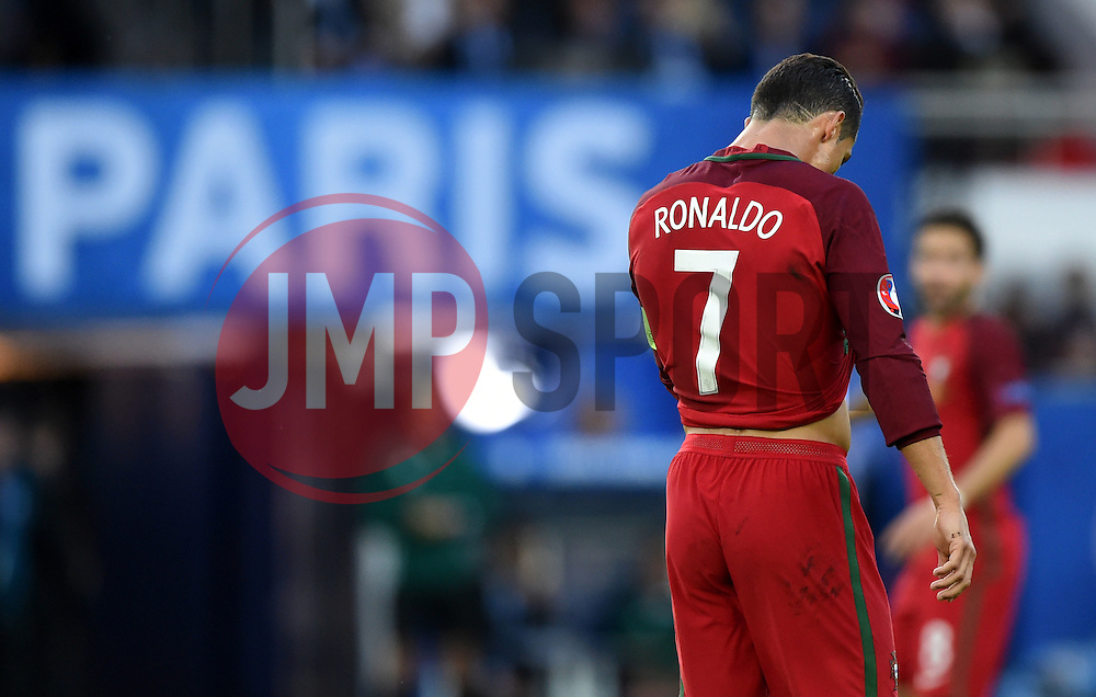 Cristiano Ronaldo of Portugal cuts a frustrated figure in front of a sign for Paris  - Mandatory by-line: Joe Meredith/JMP - 18/06/2016 - FOOTBALL - Parc des Princes - Paris, France - Portugal v Austria - UEFA European Championship Group F
