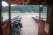 Danube river Ferry transporting bicycles at Schlogener Schlinge Austria