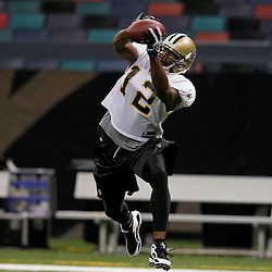 24 August 2009: New Orleans Saints wide receiver Marques Colston (12) catches a ball during New Orleans Saints training camp practice at the Louisiana Superdome in New Orleans, Louisiana.