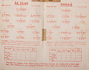 All Ireland Senior Hurling Championship Final,.Brochures,.03.09.1944, 09.03.1944, 3rd September 1944, .Cork 2-13, Dublin 1-2, .Senior Cork v Dublin, .Croke Park, ..Dublin Senior Team, James Donegan, Goalkeeper, James O'Neill, Right corner-back, Ml Butler, Full-back, Patk McCormick, Left corner-back, F White, Right half-back, C Flanagan, Centre half-back, Jas Egan, Left half-back, Henry Grey, Midfielder, Ml Hassett, Midfielder, Ter Leahy, Right half-forward, Ed Wade, Centre half-forward, Jas Byrne, Left half-forward, Patk. Maher, Right corner-forward, Chas Downes, Centre forward, Ml Ryan, Left corner-forward, Substitutes, Kevin Matthews, B White, C Forde, M Gill, P Farrell, D Devitt, J Cullanan, ..Cork Senior, J Mulcahy, Goalkeeper, Wm Murphy, Right corner-back, B Thornhill, Full-back, D J Buckley, Left corner-back, P O'Donovan, Right half-back, C Murphy, Centre half-back, A Lotty, Left half-back, J Lynch, Midfielders, C Cotterill, Midfielders, C Ring, Right half-forward, J Condon, Captain, Centre half-forward, Dr J Young, Left half-forward, J Quirke, Right corner-forward, J Morrison, Centre forward, J Kelly, Left corner-forward, Substitutes, Wm Campbell, P Healy, Mat Fouhy, C Dorgan, M Brennan,