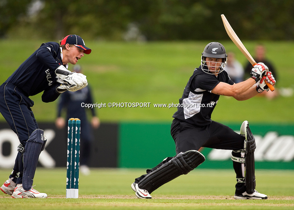 New Zealand's Doug Bracewell is caught behind by wicket keeper Jos Buttler off the bowling of Paul Best. New Zealand v England, U19 Cricket World Cup SL 7th-8th Place, Village Green, QEII, Christchurch, Tuesday 26 January 2010. Photo : Joseph Johnson/PHOTOSPORT