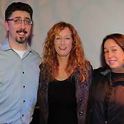 Live a the Loft radio host Bob Lord with singer Patty Larkin and NHPR Program Director Abby Goldstein at Larkins performance in Portsmouth, NH
