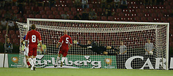 BELGRADE, SERBIA & MONTENEGRO - Wednesday, August 20, 2003: Wales' goalkeeper Paul Jones is helpless to stop Serbia & Montenegro hitting the post during the UEFA European Championship qualifying match at the Red Star Stadium. (Pic by David Rawcliffe/Propaganda)