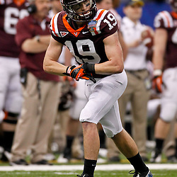 January 3, 2012; New Orleans, LA, USA; Virginia Tech Hokies wide receiver Danny Coale (19) against the Michigan Wolverines during the Sugar Bowl at the Mercedes-Benz Superdome. Michigan defeated Virginia 23-20 in overtime. Mandatory Credit: Derick E. Hingle-US PRESSWIRE
