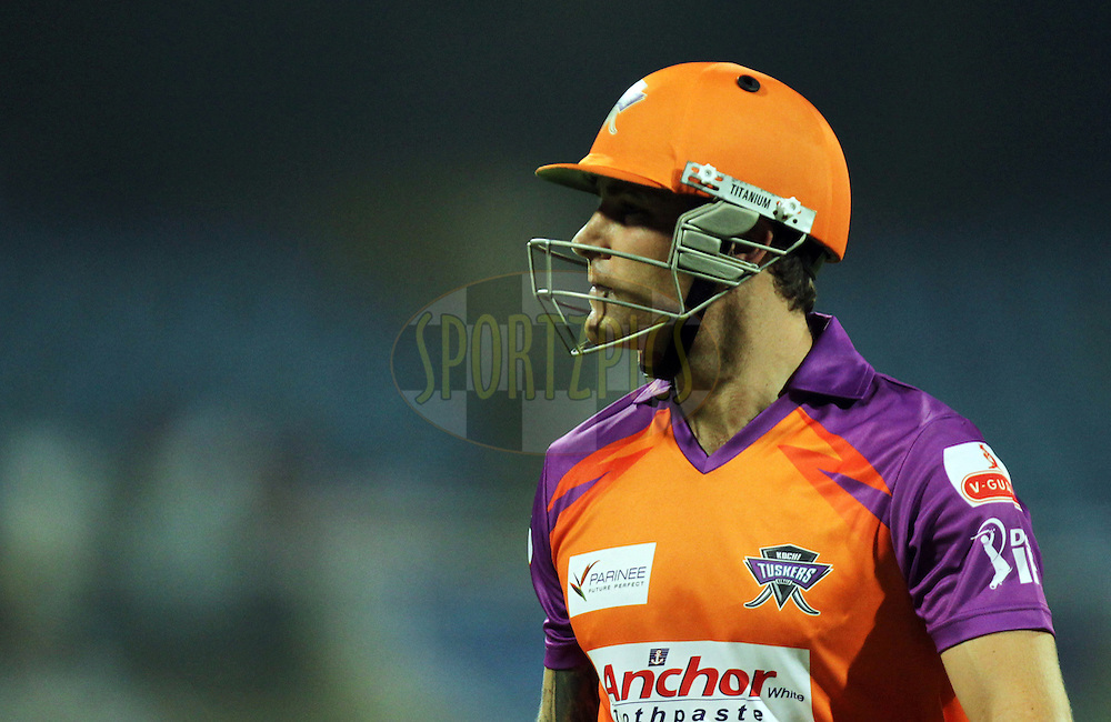 Brendon McCullum of Kochi Tuskers Kerala walks after getting out during  match 10 of the Indian Premier League ( IPL ) Season 4 between the Pune Warriors and the Kochi Tuskers Kerala held at the Dr DY Patil Sports Academy, Mumbai India on the 13th April 2011..Photo by BCCI/SPORTZPICS