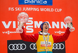 Stefan Kraft (AUT), winner in Overall Ski Jumping World Cup classification celebrates at trophy ceremony after the Ski Flying Hill Men's Individual Competition at Day 4 of FIS Ski Jumping World Cup Final 2017, on March 26, 2017 in Planica, Slovenia. Photo by Vid Ponikvar / Sportida