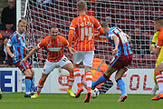 Kevin van Veen  shoots at goal during the Sky Bet League 1 match between Scunthorpe United and Blackpool at Glanford Park, Scunthorpe, England on 5 September 2015. Photo by Ian Lyall.