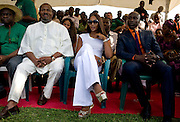 "ThisDay newspaper's Editor-in-chief Nduka Obaigbena (l), the organizer of the annual ThisDay Festival sits with celebrity guests super model Naomi Campbell (c) and fashion designer Ozwald Boateng (r) as they participate in a tree planting ceremony July 11, 2008 in Abuja, Nigeria. The 3rd Annual ThisDay Festival, themed ""Africa Rising"", is an effort to promote positive images of Africa by celebrating its' music, fashion and culture."