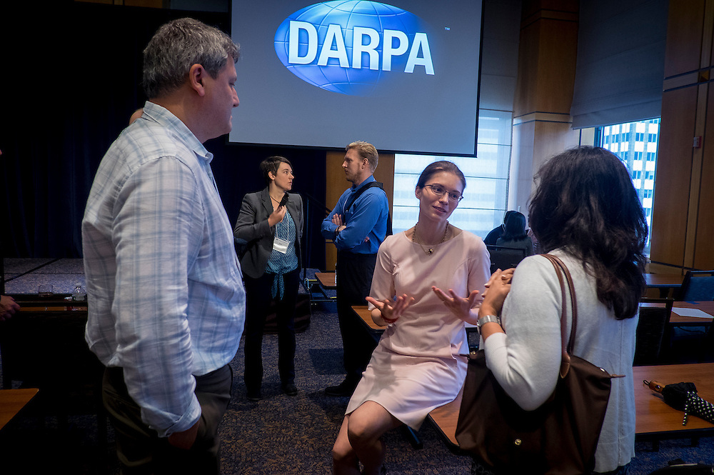 """Attendees mingle at the """"Biology Is Technology"""" symposium in New York City on June 23, 2015. The two-day event was held by DARPA's Biological Technologies Office to bring together leading-edge technologists, start-ups, industry, and academic researchers to look at how advances in engineering and information sciences can be used to drive biology for technological advantage."""