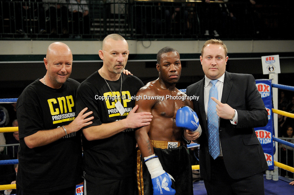 Darryll Williams (with team and Francis Warren) defeats Bobby Wood in a 4x3 min Light Heavyweight contest at York Hall, Bethnal Green, London on Friday 13th January 2012. Queensbury Promotions © Leigh Dawney 2012