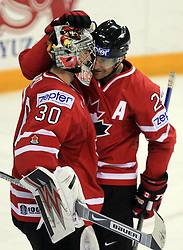Goalkeeper Cam Ward and Steve Staios of Canada after play-off round quarterfinals ice-hockey game Norway vs Canada at IIHF WC 2008 in Halifax,  on May 14, 2008 in Metro Center, Halifax, Nova Scotia,Canada. (Photo by Vid Ponikvar / Sportal Images)