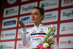 Ashleigh Moolman-Pasio of Cervelo Bigla celebrates being the most active rider on Stage 2 of the Festival Elsy Jacobs - a 111.1 km road race, starting and finishing in Garnich on April 29, 2018, in Luxembourg. (Photo by Balint Hamvas/Velofocus.com)