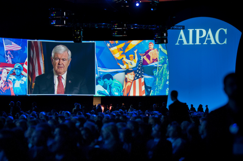 Former House Speaker and Republican Presidential Candidate Newt Gingrich speaks via teleconference at the American Israel Public Affairs Conference (AIPAC) in Washington, DC, USA on 6 March, 2012. More than 13,000 delegates are expected to attend the convention sponsored by largest pro-Israel lobby in the world and one of the strongest in the United States.