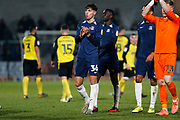 Isaac Hutchinson claps the Southend fans after the EFL Sky Bet League 1 match between Burton Albion and Southend United at the Pirelli Stadium, Burton upon Trent, England on 3 December 2019.