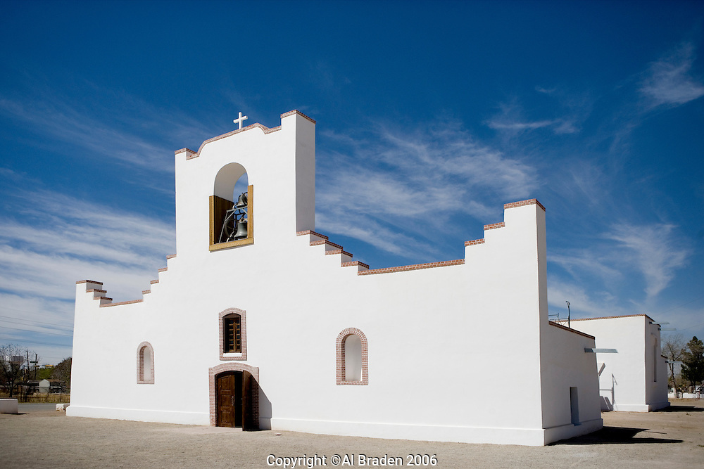 Socorro Mission La Purisima in on the Mission Trail in El Paso, Texas.