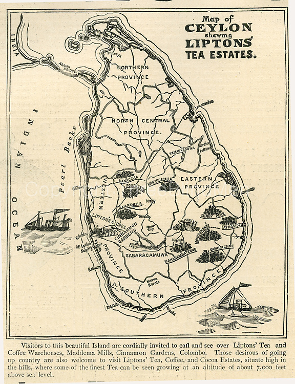 Map of Ceylon - Lipton's tea estates. 1898,
