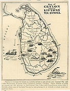 Map of Ceylon - Lipton's tea estates. 1898,
