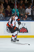 KELOWNA, CANADA - NOVEMBER 25: David Quenneville #19 of the Medicine Hat Tigers passes the puck against the Kelowna Rockets on November 25, 2017 at Prospera Place in Kelowna, British Columbia, Canada.  (Photo by Marissa Baecker/Shoot the Breeze)  *** Local Caption ***