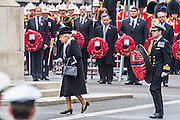 Her Majesty the Queen comes out to lay her wreath which is carried by her ecquerry. A commemoration in London to mark the Centenary of the Gallipoli Campaign 25 April 2015 at the Cenotaph on Whitehall, Westminster. Descendants of those who fought in the campaign also march past, led by military personnel, as part of the ceremony. This is an addition to the usual annual ceremony organized byvThe High Commissions of Australia and New Zealand.