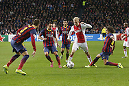 Onderwerp/Subject: Ajax - FC Barcelona - Champions League<br /> Reklame:  <br /> Club/Team/Country: <br /> Seizoen/Season: 2013/2014<br /> FOTO/PHOTO: Davy KLAASSEN (C) of Ajax in duel with PUYOL ( Carles Puyol SAFORCADA ) (R) of FC Barcelona and XAVI ( Xavier Hernandez CREUS ) (L) of FC Barcelona and PIQUE ( Gerard Pique I BERNABEU ) (LL) of FC Barcelona. (Photo by PICS UNITED)<br /> <br /> Trefwoorden/Keywords: <br /> #04 $94 &plusmn;1377840750319<br /> Photo- &amp; Copyrights &copy; PICS UNITED <br /> P.O. Box 7164 - 5605 BE  EINDHOVEN (THE NETHERLANDS) <br /> Phone +31 (0)40 296 28 00 <br /> Fax +31 (0) 40 248 47 43 <br /> http://www.pics-united.com <br /> e-mail : sales@pics-united.com (If you would like to raise any issues regarding any aspects of products / service of PICS UNITED) or <br /> e-mail : sales@pics-united.com   <br /> <br /> ATTENTIE: <br /> Publicatie ook bij aanbieding door derden is slechts toegestaan na verkregen toestemming van Pics United. <br /> VOLLEDIGE NAAMSVERMELDING IS VERPLICHT! (&copy; PICS UNITED/Naam Fotograaf, zie veld 4 van de bestandsinfo 'credits') <br /> ATTENTION:  <br /> &copy; Pics United. Reproduction/publication of this photo by any parties is only permitted after authorisation is sought and obtained from  PICS UNITED- THE NETHERLANDS