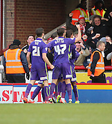 Charlton Athletic midfielder, Callum Harriott (11) celebrating scoring second goal to make it 1-2 during the Sky Bet Championship match between Brentford and Charlton Athletic at Griffin Park, London, England on 5 March 2016. Photo by Matthew Redman.
