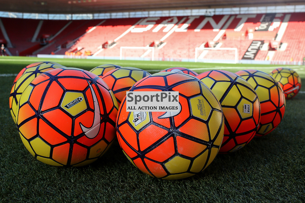 Nike Ordem Hi-vis balls rest on the Saint Mary's pitch before Southampton vs Stoke City on Saturday 21st November 2015.