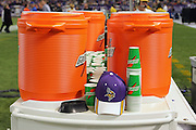 MINNEAPOLIS - NOVEMBER 21:  A Vikings hat and Gatorade products make an appearance on the sidelines at the Minnesota Vikings game against the Detroit Lions at the Hubert H. Humphrey Metrodome on November 21, 2004 in Minneapolis, Minnesota. The Vikings defeated the Lions 22-19. ©Paul Anthony Spinelli