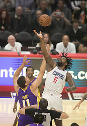 November 27, 2017 - Los Angeles, California, U.S - DeAndre Jordan #6 of the Los Angeles Clippers and Brook Lopez #11 of the Los Angeles Lakers start their game on Monday November 27, 2017 at the Staples Center in Los Angeles, California. Clippers vs Lakers. (Credit Image: © Prensa Internacional via ZUMA Wire)