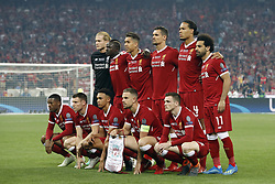 (Top Row L-R) goalkeeper Loris Karius of Liverpool FC, Sadio Mane of Liverpool FC, Roberto Firmino of Liverpool FC, Dejan Lovren of Liverpool FC, Virgil van Dijk of Liverpool FC, Mohamed Salah of Liverpool FC<br />