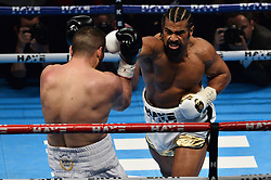 © Licensed to London News Pictures. 21/05/2016. British heavyweight boxer David Haye makes his comeback against Kosovo-Albanian Arnold Gjergjaj at the O2 arena. London, UK. Photo credit: Ray Tang/LNP