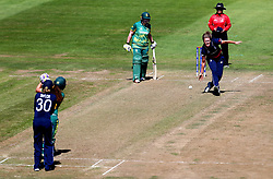Natalie Sciver of England Women stops the ball off her own bowling - Mandatory by-line: Robbie Stephenson/JMP - 05/07/2017 - CRICKET - County Ground - Bristol, United Kingdom - England Women v South Africa Women - ICC Women's World Cup Group Stage