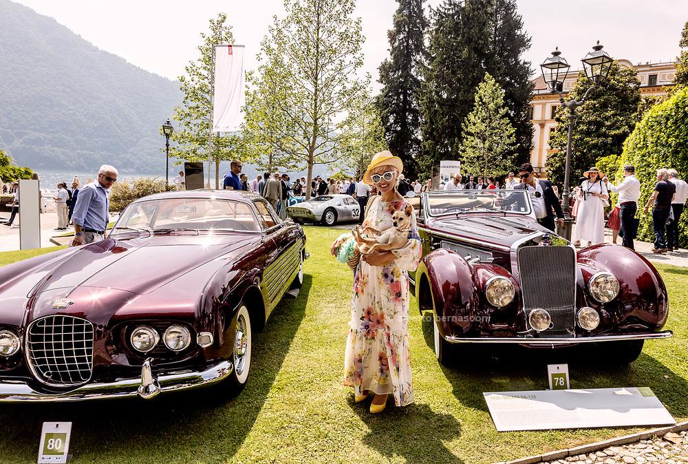 Como, Italy, Concorso d'Eleganza Villa D'Este from left, Cadillac Series 62 and Delage D8-120
