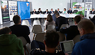 """Warsaw, Poland - 2017 April 19: (C) Mr David Haggerty - ITF President speaks while press conference during official visit of International Tennis Federation (ITF) at """"Orzel"""" Tennis Club  on April 19, 2017 in Warsaw, Poland.<br /> <br /> Mandatory credit:<br /> Photo by © Adam Nurkiewicz / Mediasport<br /> <br /> Adam Nurkiewicz declares that he has no rights to the image of people at the photographs of his authorship.<br /> <br /> Picture also available in RAW (NEF) or TIFF format on special request.<br /> <br /> Any editorial, commercial or promotional use requires written permission from the author of image."""