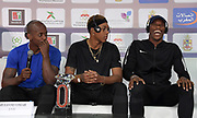Jeff Henderson (USA), left, Juan Miguel Echevarria (CUB) and Luvo Manyonga (RSA) at an IAAF Diamond League press conference prior to the  Meeting International Mohammed VI d'Athletisme de Rabat 2019, Saturday, June 15, 2019, in Rabat, Morocco. (Image of Sport)