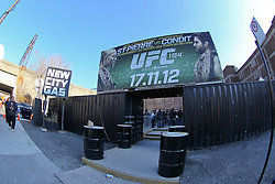 Montreal, Quebec, CAN - November 16, 2012: Fans line up hours before the weigh-ins for UFC 154 at New City Gas in Montreal, Quebec, Canada.