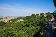 Blick vom Luisenhof auf Villen und Elbe, Weißer Hirsch, Dresden, Sachsen, Deutschland.|.View from Luisenhof, Weißer Hirsch, Dresden, Germany