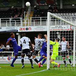 TELFORD COPYRIGHT MIKE SHERIDAN Marcus Dinanga of Telford prods towards goal during the National League North fixture between Hereford FC and AFC Telford United at Edgar Street, Hereford on Tuesday, August 13, 2019<br /> <br /> Picture credit: Mike Sheridan<br /> <br /> MS201920-009