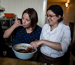Scottish Labour leader Kezia Dugdale Edward & Irwyn chocolatiers in Edinburgh, as part of Labour's push to retain the Edinburgh South seat for Ian Murray. She is pictured with ownner Kirsty Irwyn.<br /> <br /> © Dave Johnston/ EEm