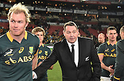 JOHANNESBURG, South Africa, 25 July 2015 : Coach of the All Blacks, Steve Hanson talking to the Springboks after the Castle Lager Rugby Championship test match between SOUTH AFRICA and NEW ZEALAND at Emirates Airline Park in Johannesburg, South Africa on 25 July 2015. Bokke 20 - 27 All Blacks<br /> <br /> © Anton de Villiers / SASPA