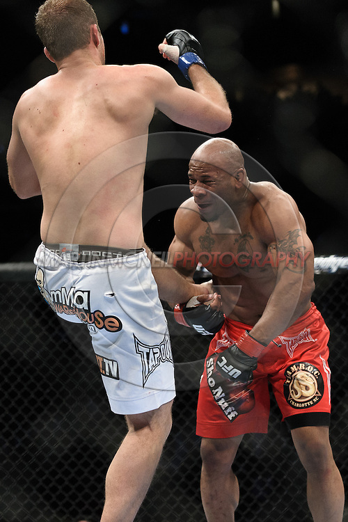 "NEWARK, NEW JERSEY, MARCH 27, 2010: Jared Hamman (left) and Rodney Wallace are pictured during their bout at ""UFC 111: St. Pierre vs. Hardy"" in the Prudential Center, New Jersey on March 27, 2010"