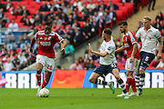 Swindon's Jonathan Obika during the Sky Bet League 1 Play Off Final match between Preston North End and Swindon Town at Wembley Stadium, London, England on 24 May 2015. Photo by Shane Healey.
