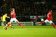 Burton Albion midfielder Scott Fraser (7) shoots and scores a goal 1-0 during the EFL Cup match between Burton Albion and Nottingham Forest at the Pirelli Stadium, Burton upon Trent, England on 30 October 2018.