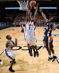 Virginia Cavaliers G Jeff Jones (1) grabs a rebound in the first half.   The Virginia Cavaliers men's basketball team defeated the Carson-Newman Eagles 124-65 in an exhibition basketball game at the John Paul Jones Arena in Charlottesville, VA on November 4, 2007.
