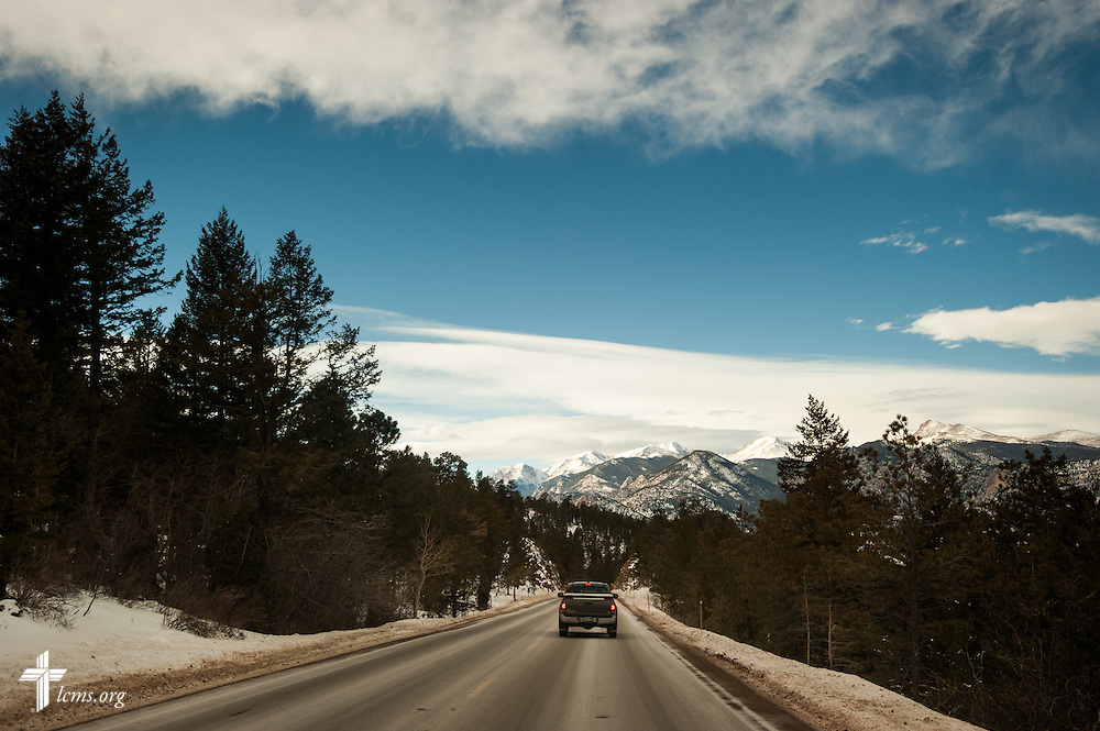 A driver heads toward Estes Park, Colo., on Tuesday, Jan. 7, 2014. The Rev. Michael W. Meyer, manager of LCMS Disaster Response, returned to assess relief efforts from the September floods. LCMS Communications/Erik M. Lunsford