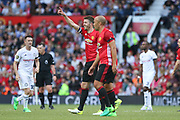 Manchester United 08 XI Michael Carrick salutes the crowd after his goal 2-2 during the Michael Carrick Testimonial Match between Manchester United 2008 XI and Michael Carrick All-Star XI at Old Trafford, Manchester, England on 4 June 2017. Photo by Phil Duncan.