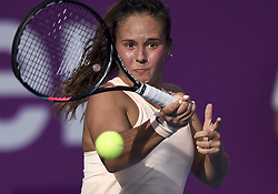 DOHA, Feb. 12, 2018  Daria Kasatkina of Russia hits a return during the single's first round match against Catherine Bellis of the United States at the 2018 WTA Qatar Open in Doha, Qatar, on Feb. 12, 2018. Daria Kasatkina retired due to injury. (Credit Image: © Nikku/Xinhua via ZUMA Wire)