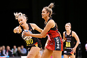 Tactix goal attack Brooke Leaver under pressure from Magic wing defense Hayley Saunders during the ANZ Premiership netball match - Magic v Tactix played at Claudelands Arena, Hamilton, New Zealand on 30 July 2018.<br /> <br /> Copyright photo: © Bruce Lim / www.photosport.nz