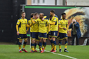 Oxford United Players Celebrate after Oxford United Midfielder, Joe Rothwell (18) scores a goal to make it 1-0 during the EFL Sky Bet League 1 match between Oxford United and Bristol Rovers at the Kassam Stadium, Oxford, England on 10 February 2018. Picture by Adam Rivers.