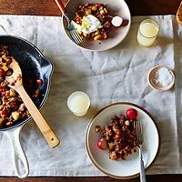spicy apple chorizo hash
